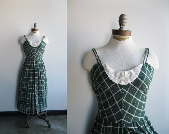 1950s Women's Dark Green and White Plaid Grid Print Polka Dot Summer Tank Dress with Lace Bib Bust sz M/L