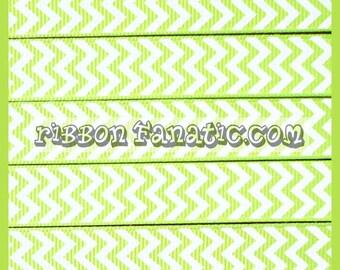 "5 yds 5/8"" Lime Green and White Chevron Striped Stripe Grosgrain Ribbon"
