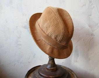 Cream corduroy fedora mens hat