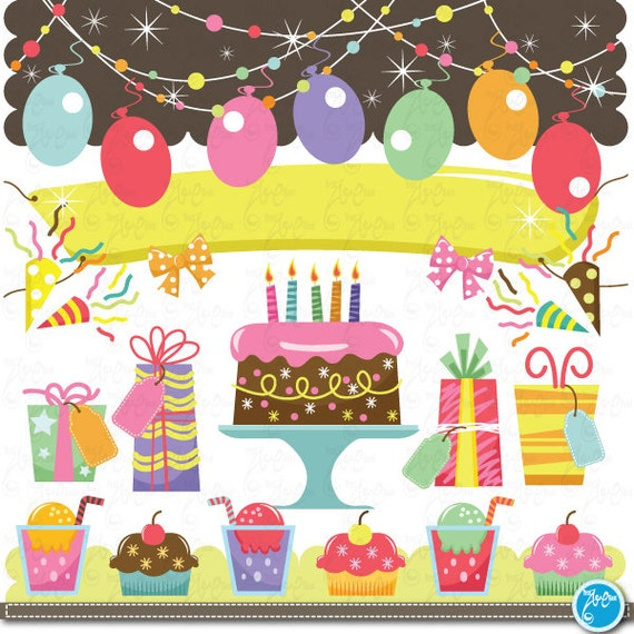 Birthday Clip Art Baby Party Graphic Kids Perfect For Scrapbook Cards InvitationsPersonal And Commercial Use Bs010
