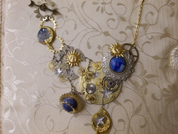 Steampunk Astronomy Bib Necklace with Lapis Lazuli and Vintage Pocket Watch Gears