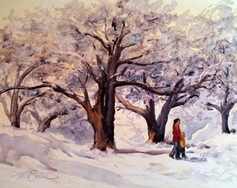 Serene Snow Day (Watercolor on YUPO)