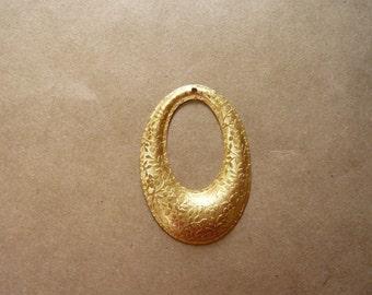 Vintage Oval Floral Brass Pendant
