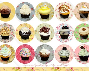 Gourmet Cupcake Party 1 Inch Circles Collage Sheet for Bottle Caps, Hair Bows, Scrapbooks, Crafts, Jewelry & More