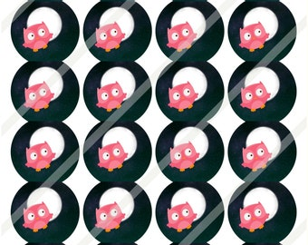 """Camp Out Girl Owls 1 2/3"""" ROUND Circles  Sticker Sheets Print or Instant Download"""