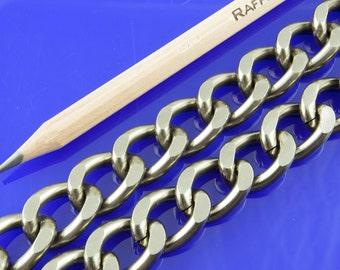 3.2ft Gunmetal Chain, Twisted Curb Chain, Aluminum Chain, 19x14mm, 0387.GU