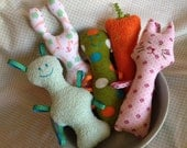 """Cloth Baby Rattle -- Assorted fabrics/patterns/shapes -- with Ribbon Loops-- 9""""-10"""""""