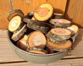 Forest cut wood slices from black cherry tree-small 12 pieces