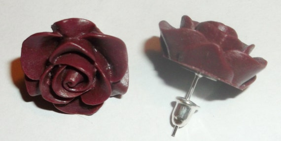 Resin Rose flower oxblood red-rosebud earrings-on silver posts-silver cushion backs-dk. red-vintage inspired