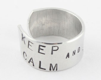 SALE - Keep Calm and Express Yourself Ring - Adjustable Aluminum Ring - Handstamped Unisex Ring