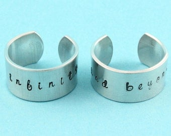 SALE - To Infinity and Beyond Rings - Adjustable Aluminum Rings - Handstamped Rings - Best Friends - Couples Rings - Valentine's Day