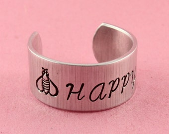SALE - Be Happy Ring - Adjustable Wide Aluminum Ring - Hand Stamped Ring - Mother's Day
