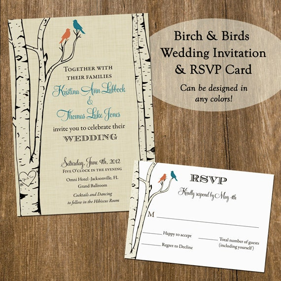birch and birds wedding set invitation and rsvp card printable