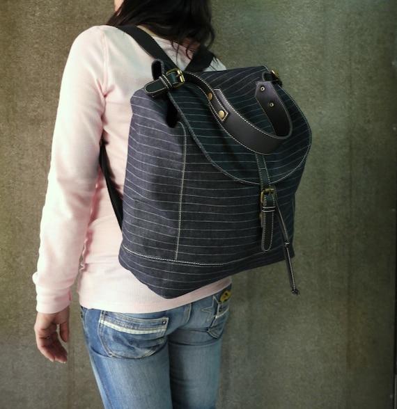 Dark Blue Striped Denim Cotton Men Women Bag Tote Handbag Shoulder Bag, Backpack, Travel Bag, Messenger, Laptop, All Purpose Bag - BP002