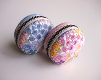 5cm,  Macaron Jewelry Pouch/ Macaroon/ Coin Purse - Flora Flower, Blue/Pink - Handmade in Japan by Chikaberry