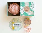 Lotus Flower Soap Gift Set - Lotus Flower Soap, Lip Balm, Nourishing Serum