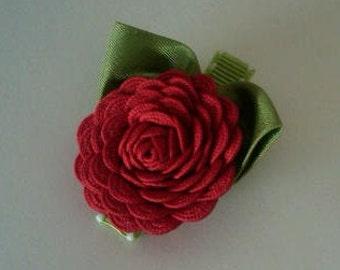 Red Ric Rac Rose Hair Clip