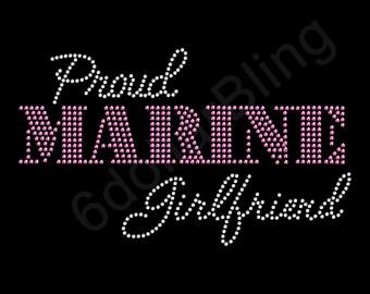 "Rhinestone Iron On Transfer ""Proud Marine Girlfriend"" Crystal Bling Design Pink - Make Your Own Shirt!"
