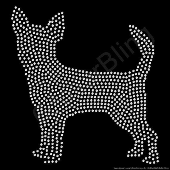 Rhinestone iron on transfer chihuahua large filled for Create your own iron on transfer for t shirt