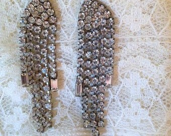 Amazing Vintage Pierced Rhinestone Earrings - Cascading Sparkle