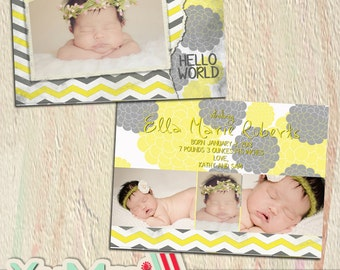 PSD birth announcement card photoshop template for professional photographers 5x7 - Y101 - flat square luxe