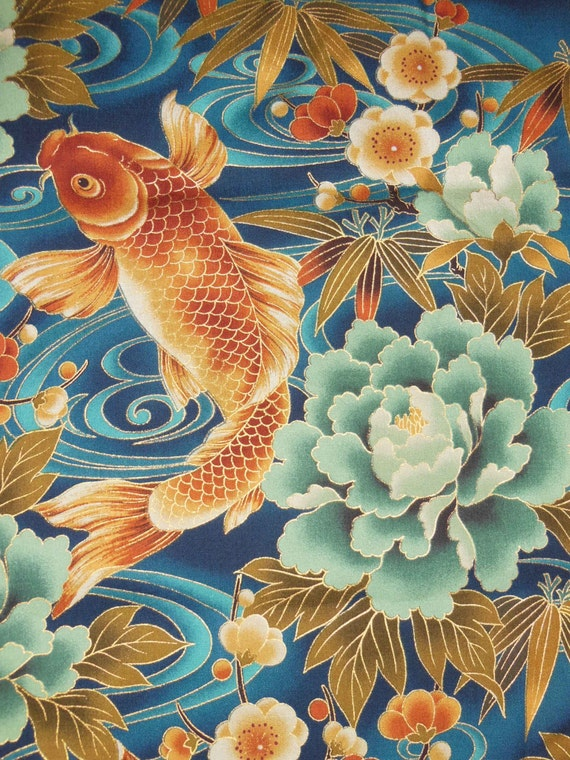 Japanese kimono fabric with gold metalic outlining ocean blue for Koi fish print fabric