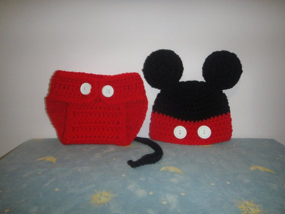 Baby Boy Diaper Cover and Mickey Mouse  Hat Set - Photography Prop - -Crochet Hat & Diaper Cover Set