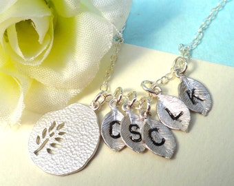 Personalized Hand Stamped  Leaf Necklace Sterling Silver Family Necklace Mothers Necklace