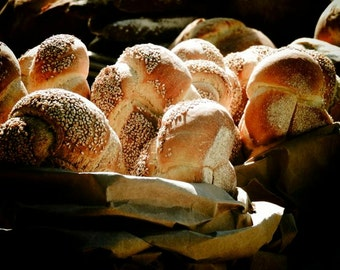 Semolina Bread - Bakery Art  Photograph - Kitchen Art Decor - Wall Decor - New York Bread - Bread Market Art