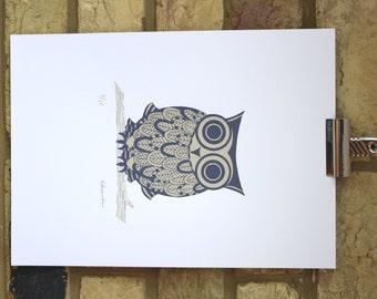 owl print Great horned owl illustration original screenprint limited edition 25 x 35cm