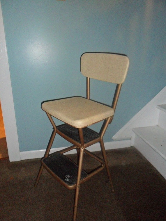 Vintage Cosco Beige Kitchen Step Stool Chair With Flip Up Seat