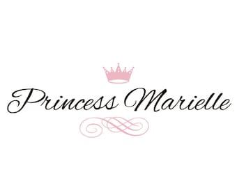 Princess Wall Decal - Elegant Script Princess Tiara Name Wall Decal - Baby Girl Nursery Vinyl Wall Art Toddler Teen Room 12H x 32W GN019