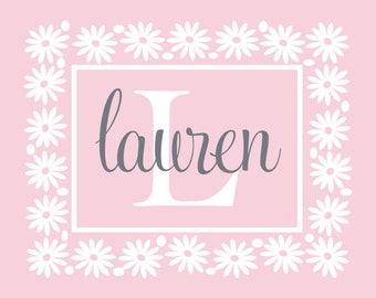 Flower Wall Decal Personalized With Name And Initial - Vinyl Wall Decal For Baby Girl Nursery Or Teen Girls Room Wall Art 22Hx28W GN052