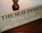 25th Wedding Anniversary or 50th Wedding Anniversary Wood Sign, Personalized Family Last Name with Family First Names and Established Date