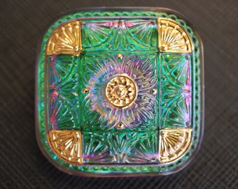 Hand Made Art Czech Glass Buttons Square Purple-Green Vitrail Gold, size 16, 32x32mm, 1 pc. (BUT304/16)