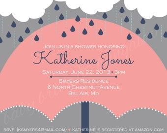 Baby girl shower invite with umbrella, 5x7: Printable and customizable (front design only)