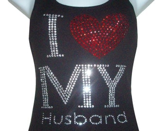 Red Heart Rhinestone crystal I Love My HUSBAND Tank tops Shirt Blacks Size:S, To 3XL plus size  Free Shipping Bling Available in White