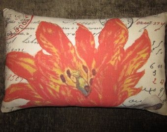 French Botanical Pillow 100% Cotton Canvas and Burlap French Script Orange Tulip Throw Lumbar Pillow Cover