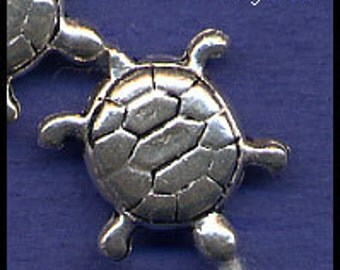 Turtle Bead 15mm x 16mm Sterling Silver (.925)