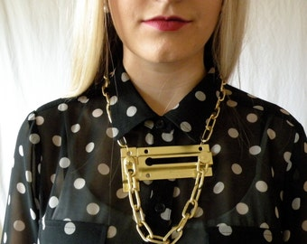 Gold Chunky Hardware Lock Statement Necklace