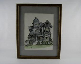 Vintage Debbie Partrick Signed Lithograph, Vintage Framed Art, Framed Picture, Framed Lithograph
