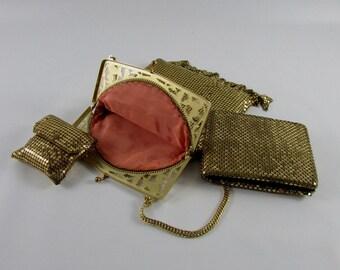 Vintage Art Deco Whiting and Davis Gold Mesh Evening Bag, Vintage Wedding, Vintage Bride, Vintage Formal Bag