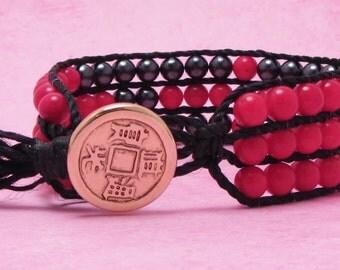 Coral and Gun Metal Black,  3 Row, Button Cuff, Nylon, Asian Button, Bracelet Cuff, Free Shipping
