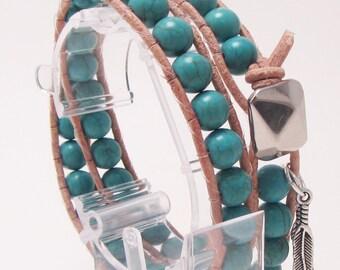 Single Row Double Wrap Cuff, Button Cuff,Turquoise Howlite Gemstones, Natural Leather, Bracelet, Bracelet Wrap