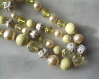 Two Vintage Necklace in yellow and bright green