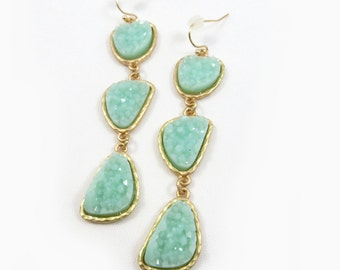 Geode Agate Druzy Drusy Stone Trio Earrings in Mint, Silver, Ivory, and Black