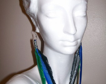 SALE Black, Blue, and Green Feather Earrings