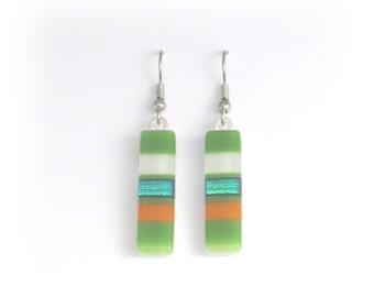 Fused dichroic glass earrings, Dichroic glass jewelry, Fused glass dangle earrings, EA108