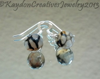 Earrings, Black, Brown and White Dragon's Vein Agate Silver Earrings