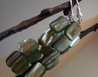 Earrings, Mother of Pearl Dangling Earrings, Green Mother of Pearl Earrings, Silver